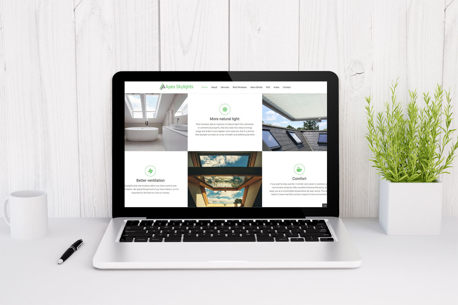 JJ Solutions designed and optimised the Apex Skylight website