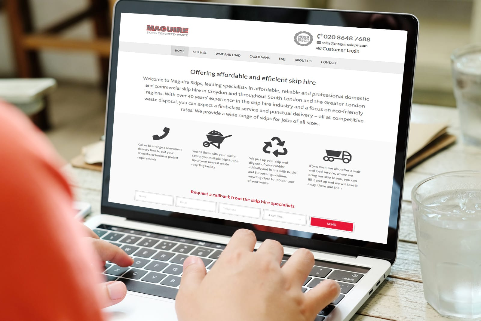 Maguire Skips website builders - JJ Solutions based in Surrey