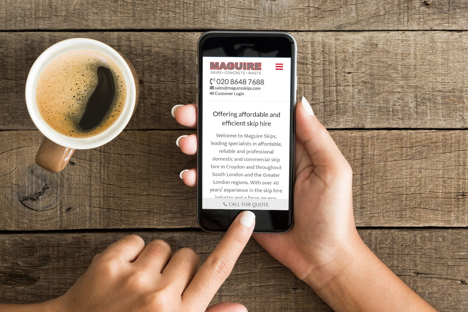 Maguire Skips website designed and built by JJ Solutions - Surrey web designers