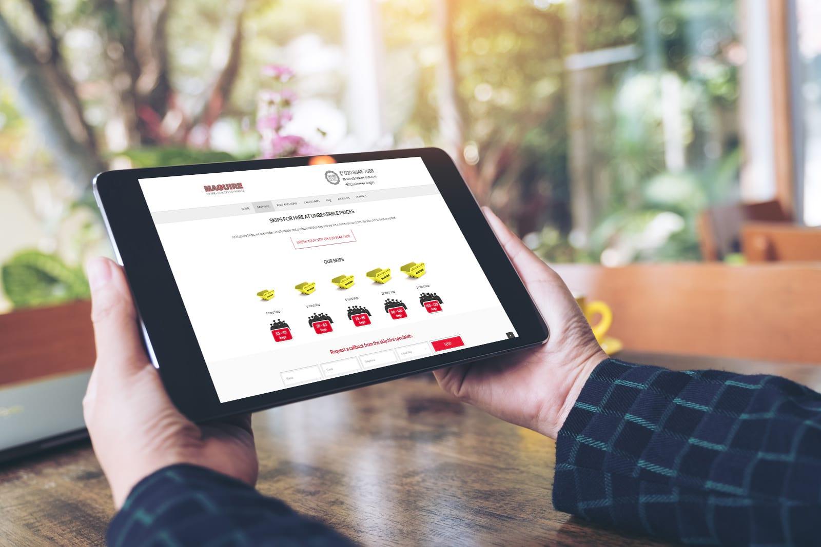 JJ Solutions designed the Maguire Skips website