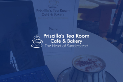 Who designed the Priscilla's Tea Room website in Sanderstead