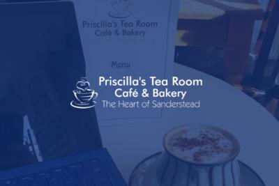 Who designed the Priscilla's Tea Room website in Sanderstead