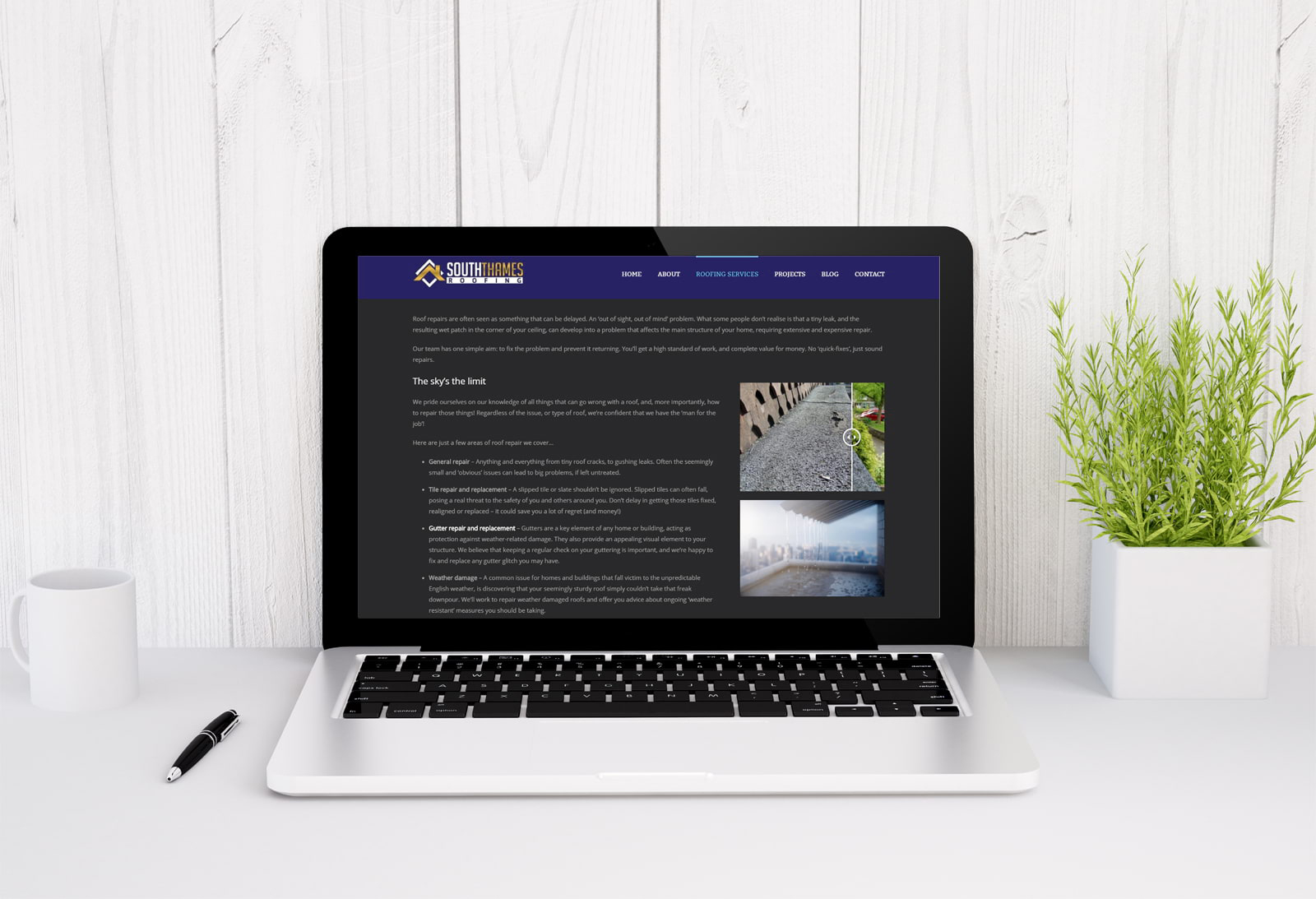 Wordpress design and build for roofing company in Surbiton